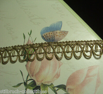 "Antique vtg gold metallic lace metal trim with loops costume lamp-shade 1"" WIDE"