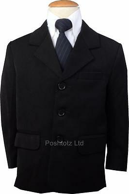Boys Smart Black Formal Suit Jacket Wedding Pageboy Party Prom 0mths-14-15years