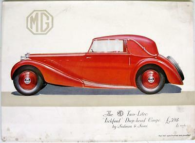 "MG Two-Litre ""Tickford"" Drophead Coupe - Car Sales Brochure - Oct 1935"