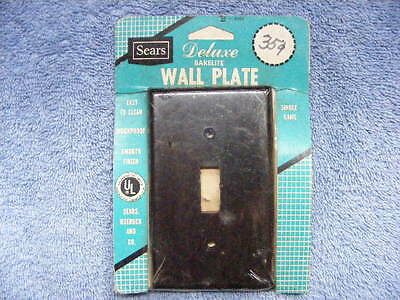 NOS vintage brown bakelite switch plate- unopened SEARS package