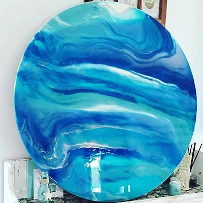 Modern Original Abstract Resin Timber Painting Blue White Silver Dee's Funky Art