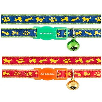 Ancol Cat Kitten Collar Cat & Fish Design Green Blue Red Orange Safety Buckle