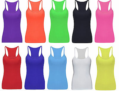 Ladies UV Neon Lycra Vest Stretchy Top Dance Party Casual Club Gym 11 Colours