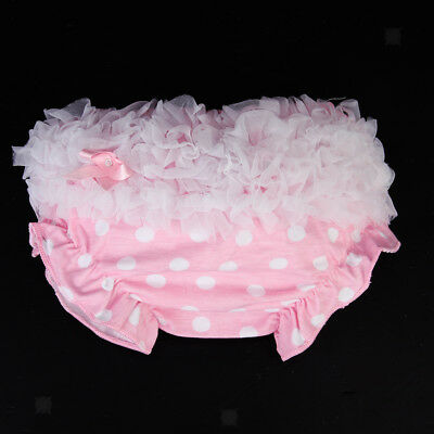 Newborn Baby Girl 0-2Y White Dot Cotton Ruffle Nappy Diaper Panty Pink