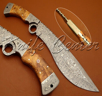 Beautiful Hand Made Damascus Steel Kukri Bowie Knife | Hunting Knife | Finger