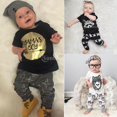 Newborn Baby Boy Girls Cotton Clothes Outfit Tops Shirt+ Pants Trousers Set 0-3Y