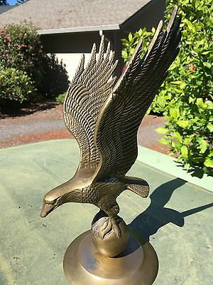 """Beautiful Vintage 12"""" Solid Brass Bald Eagle on Ball Stand Statue Figurine."""