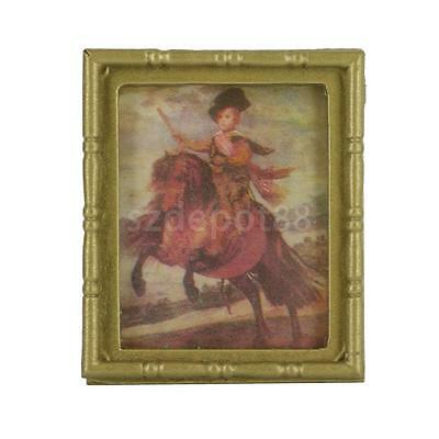 Dollhouse Miniature Framed Knight Mural Wall Painting Picture Ornament 1/12