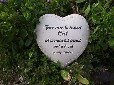Graveside Memorial Remembrance Grave Tribute Large Heart Cat stone