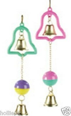 Budgie Canary Bird Toy With 2 Bells And Ball Hooks To Cage