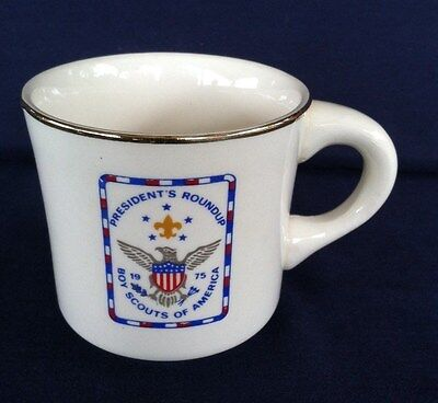 Vintage 1975 Boy Scouts of America Coffee Mug President's Roundup Made in USA
