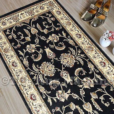 SABLE BLACK VINTAGE ALLOVER STYLE TRADITIONAL HALL RUG RUNNER 80x300cm **NEW**