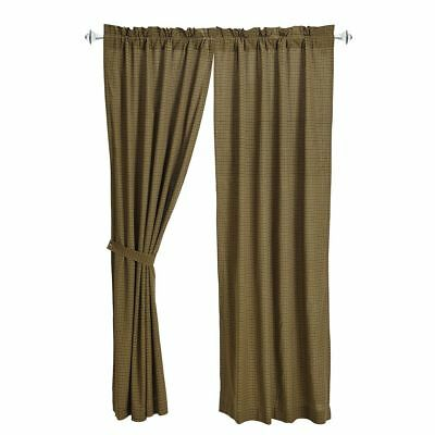 """Tea Cabin Lined Cotton Green Plaid Country Window Curtains with Tie-Backs 84"""" L"""