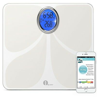 1byone Digital Bluetooth Body Fat Scale with Phone and Tablet App to Manage Y...