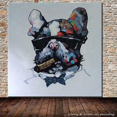 Hand-painted Animal Oil Painting Wall Decor Art on Canvas,Smoking Dog 24x24inch