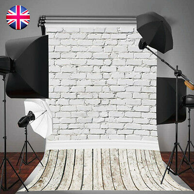 5x10FT White Brick Wall Backdrop Wooden Floor Photo Background Props For Studio