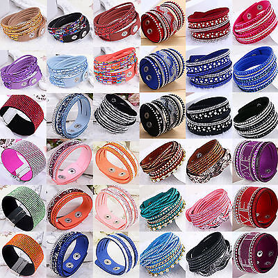Fashion Leather Wrap Wristband Cuff Punk Crystal Rhinestone Bracelet Bangle Best