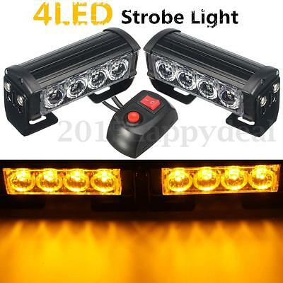 2x 12V 4 LED Bar Amber Car Truck Flashing Emergency Grille Light Recovery Strobe