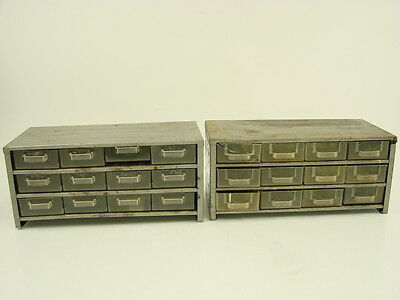 2 Vtg Gray Metal Industrial Age Shelving Units with Plastic Drawers Storage Box