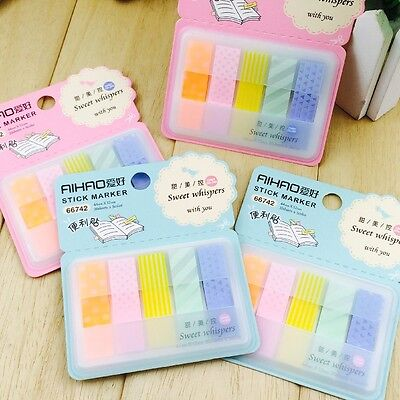 100pages PVC Writable 5 Colors Pattern Memo Stick/ Post-it note/ Sticky Memo
