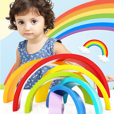 Kids Children 7 Color Wooden Rainbow Stacking Building Blocks Educational Toy