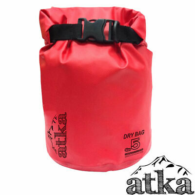 ATKA Dry Carry Bag 5L RED Waterproof Travel Sack Camping Canoe Kayak Floating
