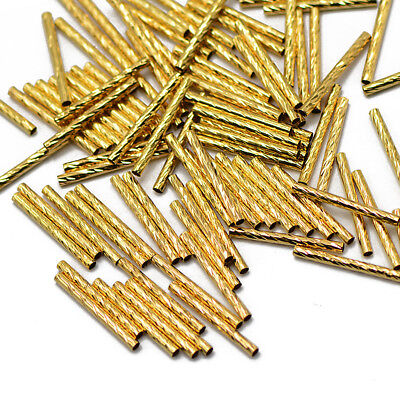50x Gold Metal Carved Tube Pipe Beads Noodle Bead DIY Jewelry Making Finding