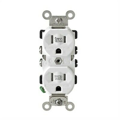 Tamper Weather-Resistant Grounded Duplex Outlet,No S02-TWR15-W,  Leviton Mfg Co