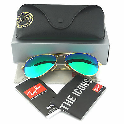 ray ban green glass golden frame  ray ban rb3025 aviator 112/19 gold frame green flash glass lens sunglasses 58mm