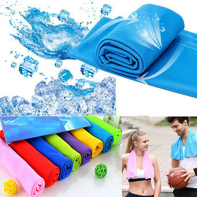 New Ice Cold Cool Sports Cooling Towels Scarf Reuseable Cycling Jogging Hot ^_^