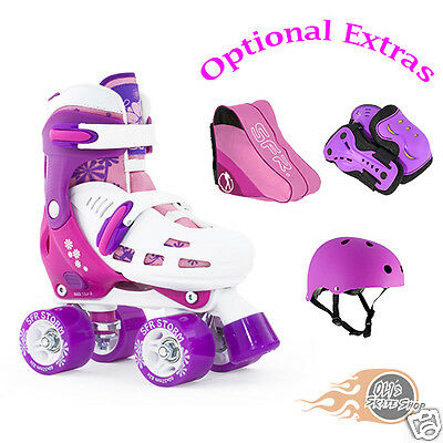 SFR Storm II Adjustable Quad Roller Boots Skates Girls **Plus Optional Extras**