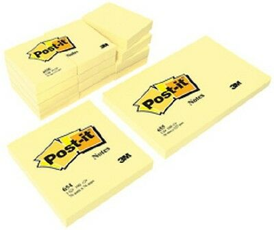 3M Post-it Notes adhésives, 100 feuilles/bloc, jaune, 12 blocs