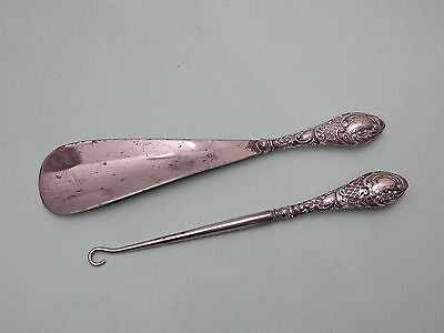 Antique Hallmarked Silver Handle Button Hook And Shoe Horn
