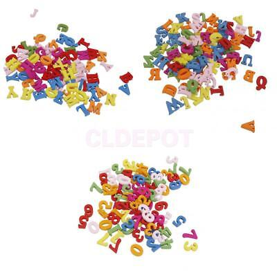 100 Mixed Color Wooden Beads Numbers Letters Shape Craft Embellishment Kids Toys