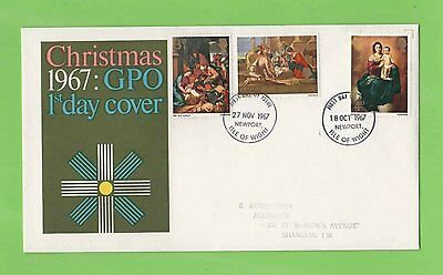 GB 1967 Christmas GPO Double Date First Day Cover Dual Cancel Newport IOW
