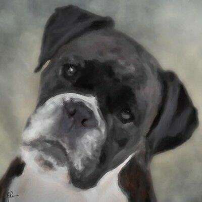 """Boxer Dog Black & White,  GEP Signed 12"""" x 12"""" Art Print / Painting / Watercolor"""