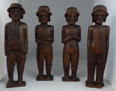 Antique Set of 4 Wooden Carved Men, Rifle, Flute, Various Dress Mahogany NICE!