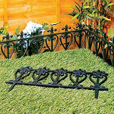 Victorian Style Black Fencing Garden Edging - Ornate Fence Border For Lawn /