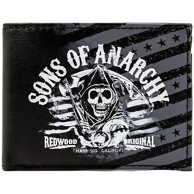 New Official Fox Sons Of Anarchy Redwood Black Id & Card Bi-Fold Wallet