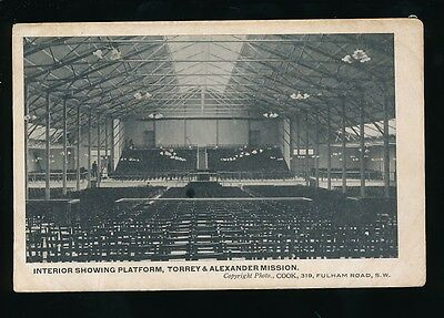 London BRIXTON interior view Torrey & Alexander Mission used 1905 PPC
