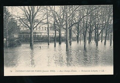 France PARIS Inondations Floods 1910 Champs-Elysees Restaurant Ledoyen LL PPC