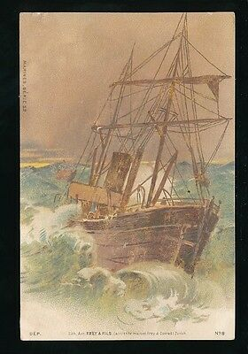 Shipping ship in storm Litho print c1902 u/b PPC Marine Series 53 #8