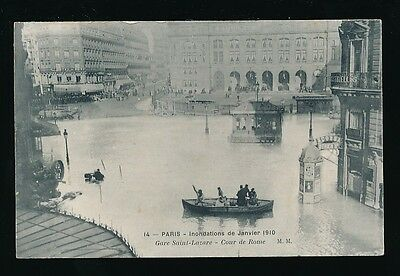 France PARIS Inondations Floods 1910 Gare Saint-Lazare PPC