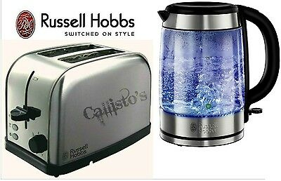 Kettle and Toaster Set Russell Hobbs Futura 2-Slice Toaster and Glass Kettle New