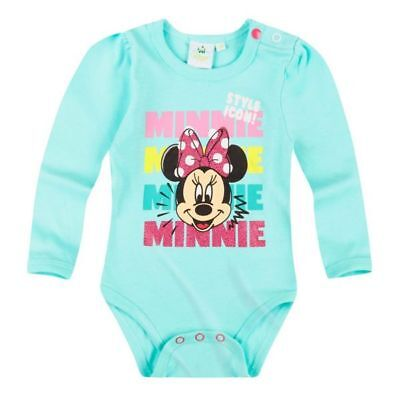 Disney Minnie Body, Langarm, Glitzereffekt, türkis, Gr. 62-92