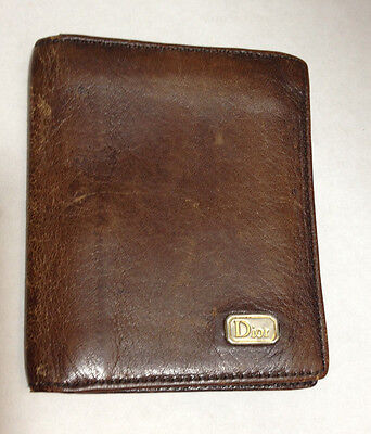 Vintage Christian Dior Brown Leather Wallet Small T17