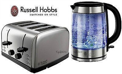 Kettle and Toaster Set Russell Hobbs Futura 4-Slice Toaster and Glass Kettle New