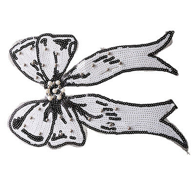 SEQUINS 265x210mm SEW ON MOTIF EMBELLISHMENT HL1140 1 WHITE BUTTERFLY APPLIQUE