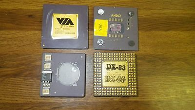 Lot of 4 High Yield Gold Ceramic CPU for scrap gold recovery PM Unusual Mix