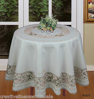 """Embroidered Pink Floral Green Leaf Tablecloth 88"""" Round & 12 Napkins Ivory 3471"""